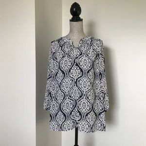 Charter Club Navy & White Damask Peasant Blouse